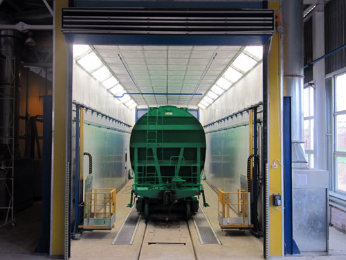 Paint booth for wagons