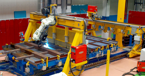 Robotic welding of gondola car front walls
